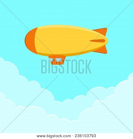 Dirigible, Airship Or Zeppelin. Flying Blimp In Sky With Clouds. Vector Illustration.
