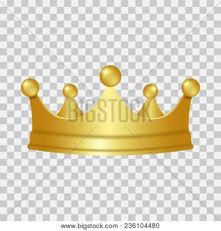 Realistic Gold Crown. 3d Golden Crown Isolated On Transparent Background. Vector Illustration.