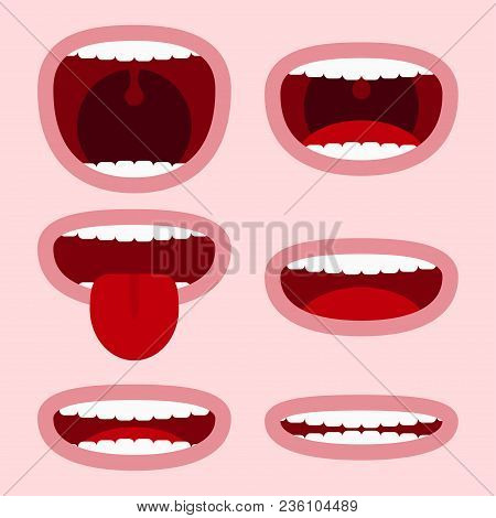 Mouths Set With Different Expressions. Cartoon Face Elements With Emotions - Smile, Screaming, Showi