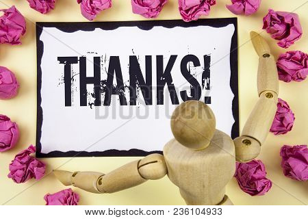 Handwriting Text Thanks Motivational Call. Concept Meaning Appreciation Greeting Acknowledgment Grat