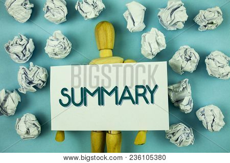 Writing note showing  Summary. Business photo showcasing Brief Statement Abstract Synopsis Concise Abbreviated version written Sticky Note paper plain background Toy Paper Balls. poster