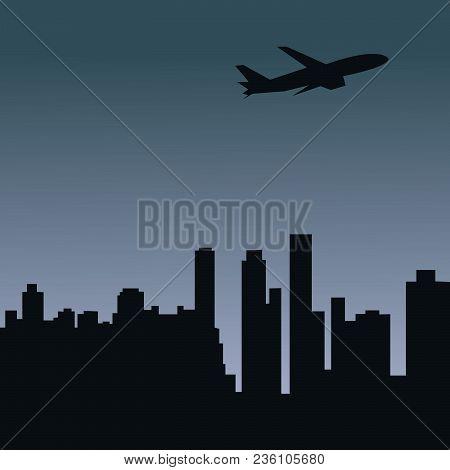 Airplane, Plane, City,  Night City, Panoramic, Panoramic View, Travel,