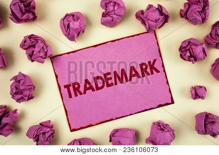 Conceptual Hand Writing Showing Trademark. Business Photo Showcasing Legally Registered Copyright In