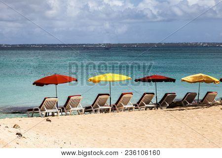 Beach with umbrelas view
