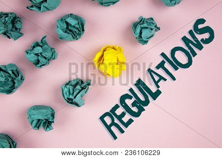 Word Writing Text Regulations. Business Concept For Rules Laws Corporate Standards Policies Security