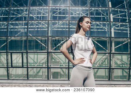 Confident Sports Girl Standing Outdoors, Gaining Energy Before Training, Leading A Healthy Lifestyle