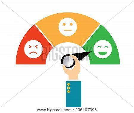 Vector Illustration Icon Emoticon Flat Design. Concept Feedback Service, Customer Experience Scale R