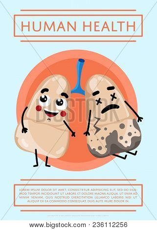 Human Health Poster With Sick And Healthy Lung Cartoon Character. Medical Treatment Illustration. Hu