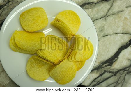 Potato Chips Bowl Isolated On White Snack Delicious,