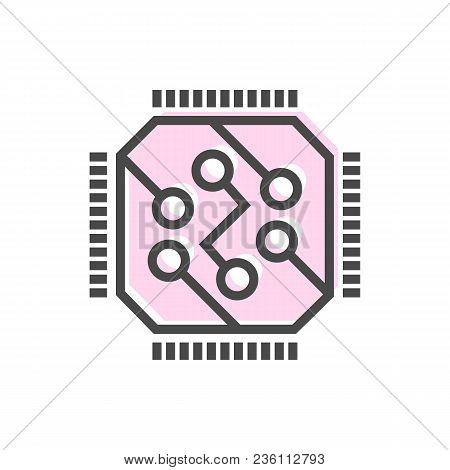 Artificial Intelligence Icon With Computer Chip Symbol. Modern Cyber Linear Pictogram, Smart New Tec