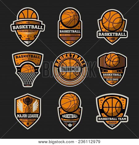 Basketball Tournament Vintage Isolated Label Set. Basketball Major League, Championship Symbol, Spor