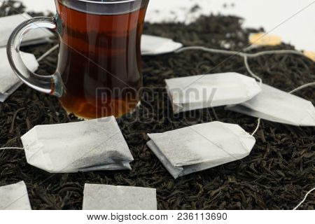 Glass Tea Cup With Tea-bag In Traditional Still-life