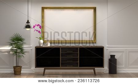 Mock Up Empty Photo Frame With Wooden Cabinet With Lamp In Front Of Empty White Wall Decorative Item