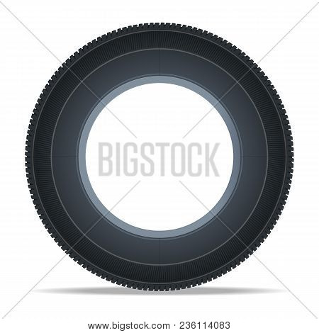 Modern Vehicle Tire Icon. Consumables For Car, Auto Service Concept, Wheel Vehicle Isolated On White