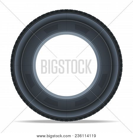 Detailed Auto Tire Icon. Consumables For Car, Auto Service Concept, Wheel Vehicle Isolated On White