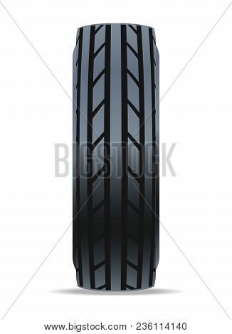 Modern Road Car Tire Icon. Consumables For Car, Auto Service Concept, Wheel Vehicle Isolated On Whit