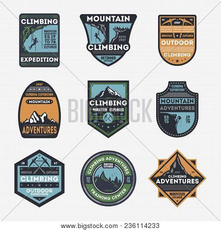 Mountain Climbing Vintage Isolated Label Set. Outdoor Adventure Symbol, Mountain Explorer Sign, Tour