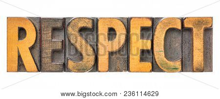 respect - isolated word in vintage letterpress wood type