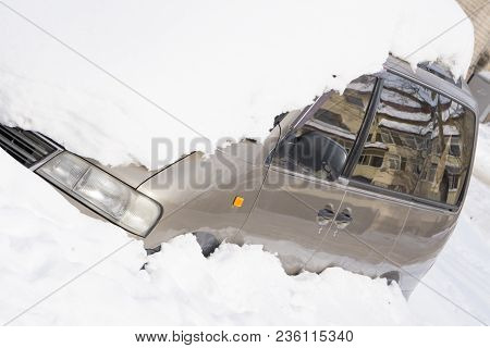 A Car Under The Snow Snowy Thick Layer