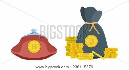 Purse And Pouch With Digital Money Gold Coins Stock Vector Illustration