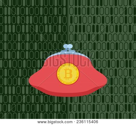 Pink Purse For Crypto Currency On Green Stock Vector Illustration