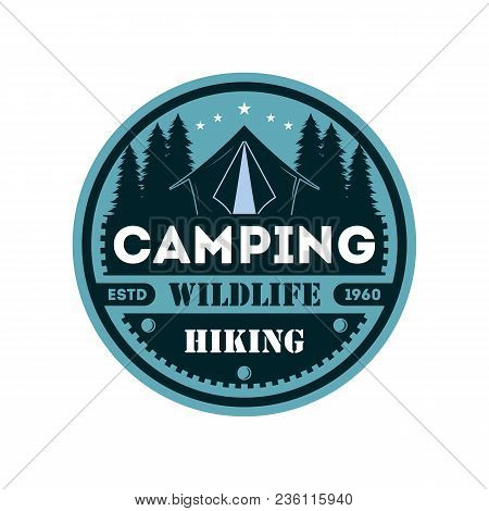 Wildlife Camping Vintage Isolated Badge. Outdoor Expedition Symbol, Nature Explorer, Touristic Extre