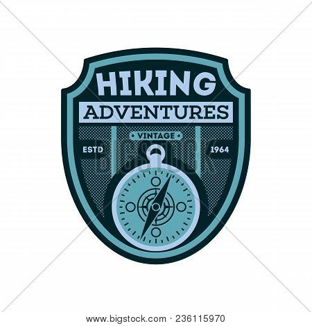 Nature Hiking Vintage Isolated Badge. Outdoor Expedition Symbol, Mountain And Forest Explorer, Touri