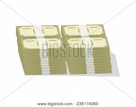 Bundles Of Banknotes Icon. Money Success Symbol, Financial And Banking Sign Isolated On White Backgr