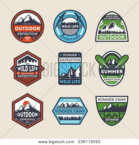 Outdoor Expedition Vintage Isolated Label Set. Summer Camp Symbol, Mountain And Forest Explorer, Tou