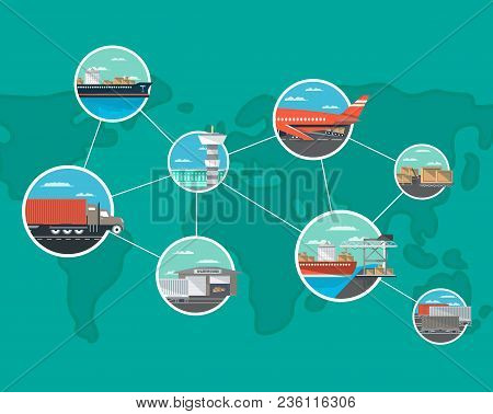 International Shipping And Logistics Concept. World Freight Shipping And Cargo Delivery, Postal Serv
