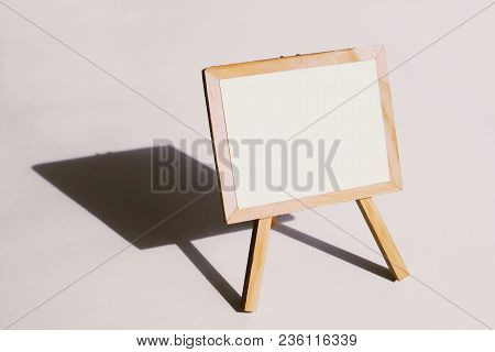 Standing Sign Wood Board With Empty White Copy Space Area On White Background To Announce Or Introdu