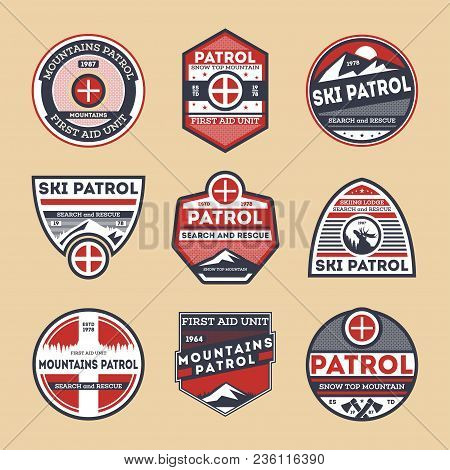 Sky Patrol Retro Isolated Label Set. Search And Rescue Badge, Winter Mountains Patrol Symbol, First