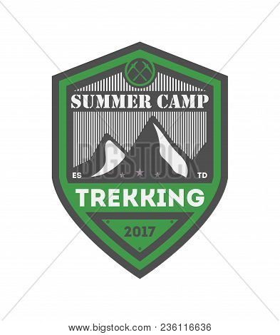 Summer Camp Trekking Vintage Isolated Badge. Mountain Explorer Sign, Touristic Camping Label, Nature