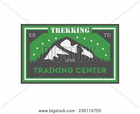 Trekking Training Centre Vintage Isolated Badge. Summer Camp Symbol, Mountain Explorer, Touristic Ca