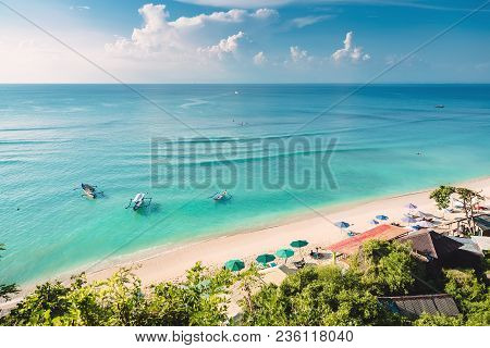 Tropical Blue Ocean, Sandy Beach And Boats In Indonesia, Bali