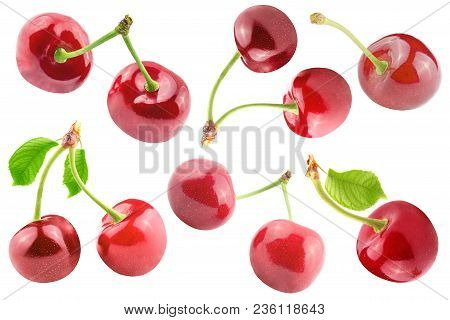 Isolated Cherries.cherry Collection Isolated On White Background With Clipping Path As Package Desig