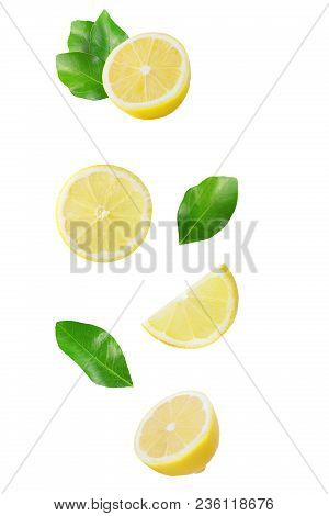 Isolated Flying Citrius. Falling Fruit Isolated On White Background With Clipping Path As Package De