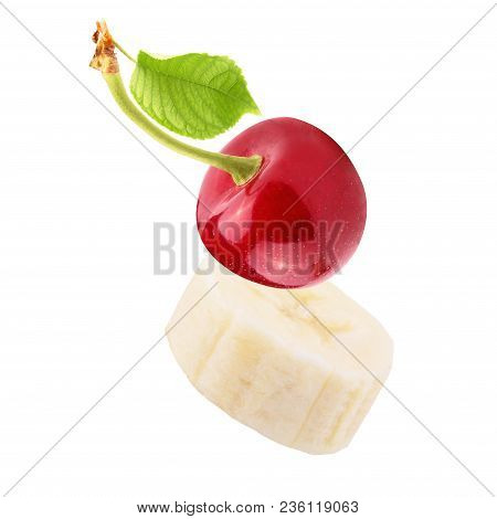 Isolated Fruits. Fresh Sliced Banana And  Cherry Isolated On White Background With Clipping Path As