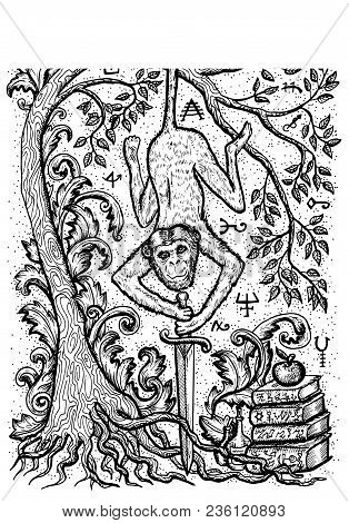 Monkey Symbol With Sword, Book, Baroque Decorated Tree And Mystic Signs. Fantasy Vector Illustration