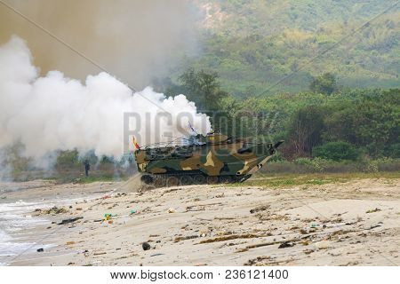 Chonburi, Thailand - February 17, 2018: Assault Amphibious Vehicles Of South Korea Land On Sea Shore