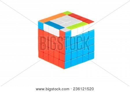 The Rubik`s Cube Five On Five On The White Background. The Solution Sequence Stage Five. The Object