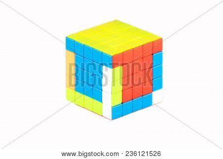 The Rubik`s Cube Five On Five On The White Background. The Solution Sequence Stage Three. The Object