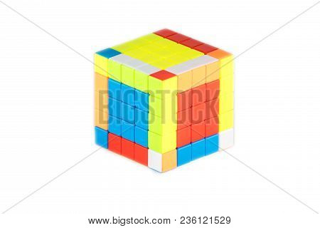 The Rubik`s Cube Five On Five On The White Background. The Solution Sequence Stage Two. The Object I