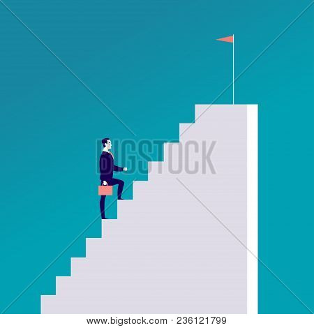Vector Business Concept Illustration With Businessman Walking Up The Stairs With Flag On It Isolated
