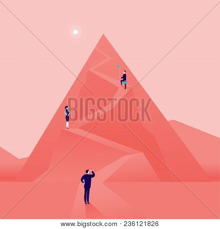 Vector Business Concept Illustration With Business People Climbing Mountain Road Up. Flat Style. Car