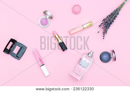 Set Of Cosmetics On A Pink Background. Pastel Color