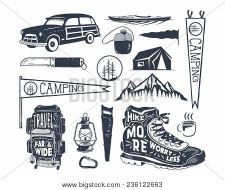 Vintage Hand Drawn Adventure Symbols, Hiking, Camping Shapes Of Backpack, Pennant, Kayak, Surf Car,