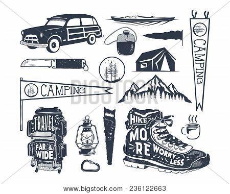 Vintage Hand Drawn Adventure Symbols, Hiking, Camping Shapes Of Backpack, Pennant, Kayak, Surf Car,