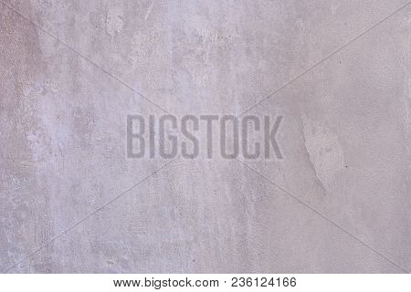 Background Of A Gray Stucco Coated And Painted Exterior, Rough Cast Of Cement And Concrete Wall Text