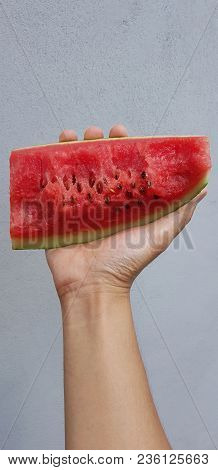 Portrait Man Is Holding Slice Of Watermelon,summertime, Watermelon Lover, Summer Sale Concept.